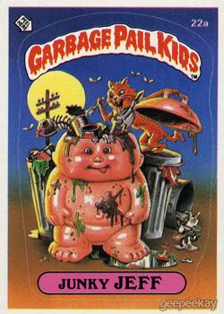1985 UK Garbage Pail Kids 1st Series Card 22a Junky JEFF
